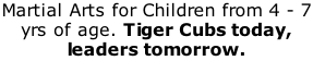 Martial Arts for Children from 4 - 7 yrs of age. Tiger Cubs today, leaders tomorrow.